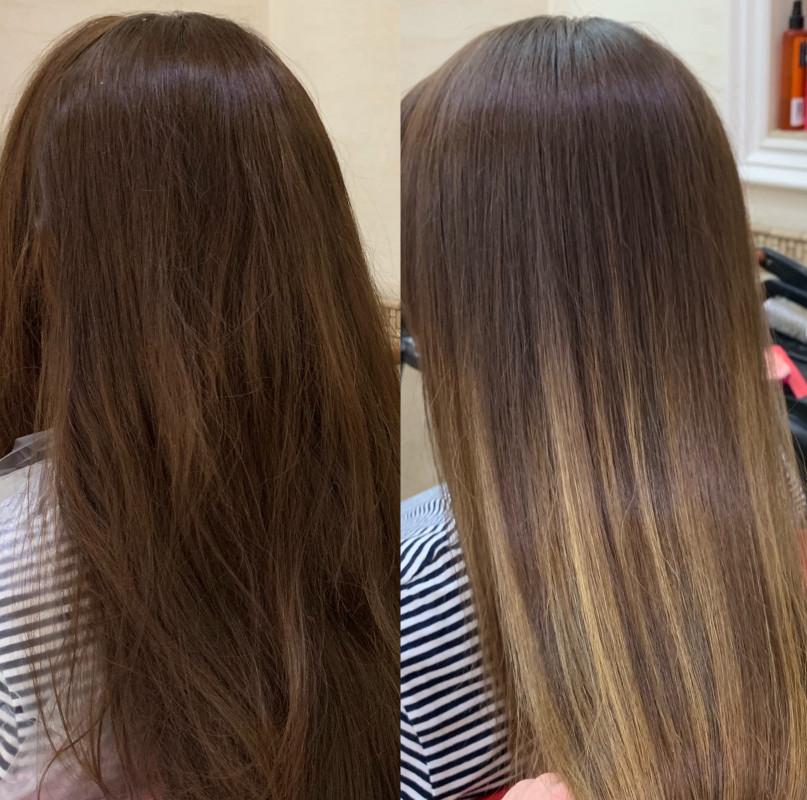 Осветление темных волос фото