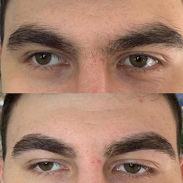 Коррекция бровей мужчинам фото до и после