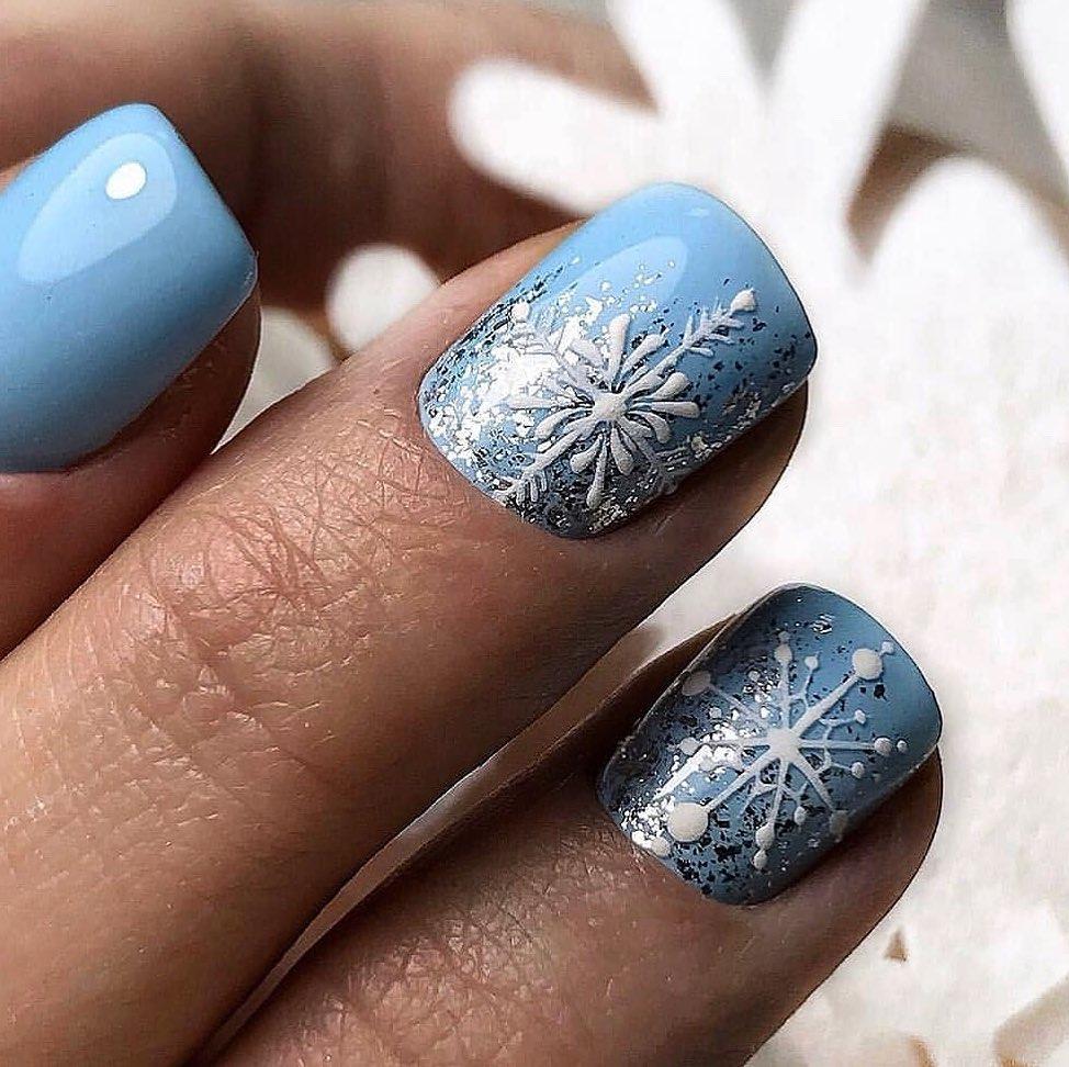 Ногти снежинки дизайн фото