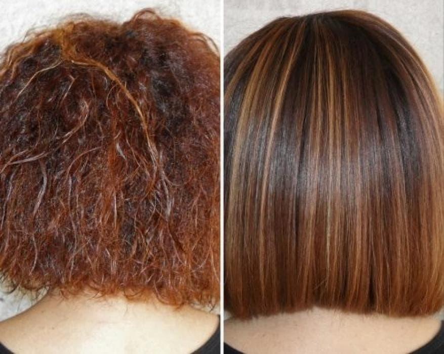 Кератинирование волос после завивки