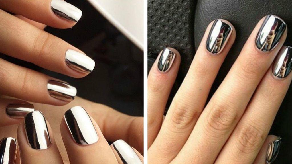 Дизайн ногтей черный с втиркой