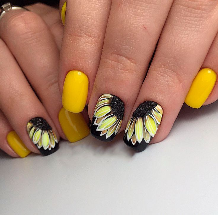 Фото дизайн для ногтей подсолнухи